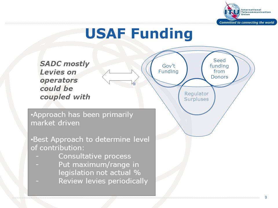 USAF Funding Regulator Surpluses Seed funding from Donors Govt Funding 9 SADC mostly Levies on operators could be coupled with Approach has been primarily market driven Best Approach to determine level of contribution: -Consultative process -Put maximum/range in legislation not actual % - Review levies periodically