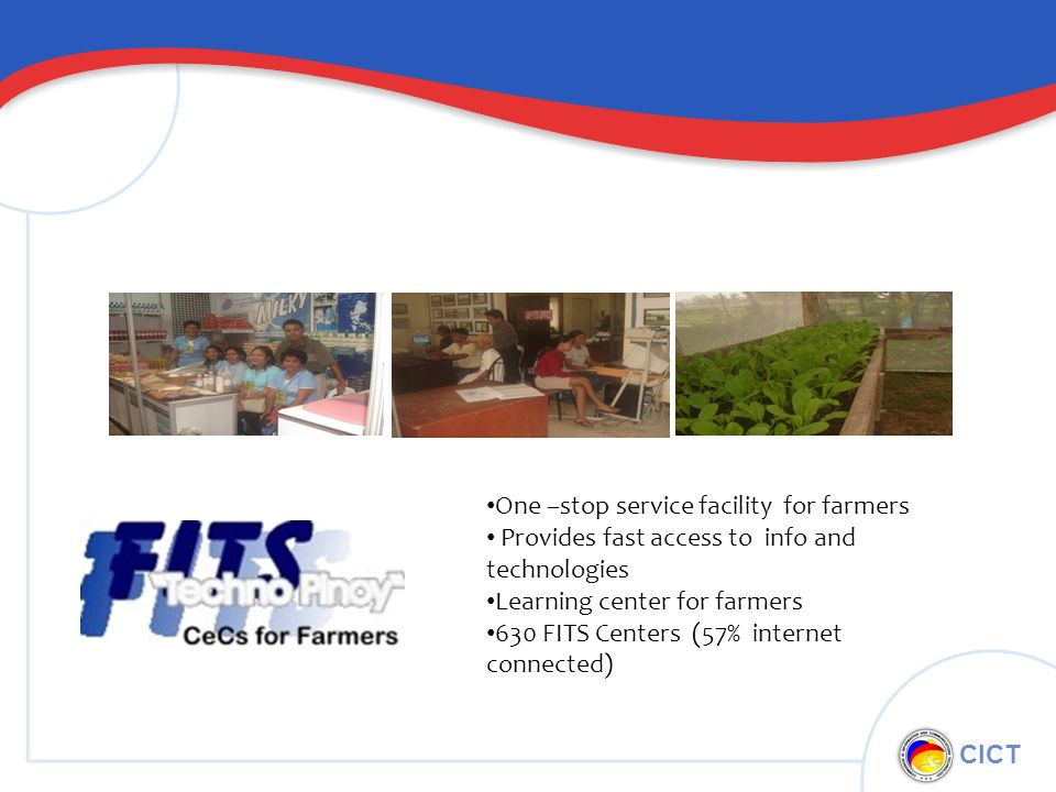 CICT One –stop service facility for farmers Provides fast access to info and technologies Learning center for farmers 630 FITS Centers (57% internet connected)