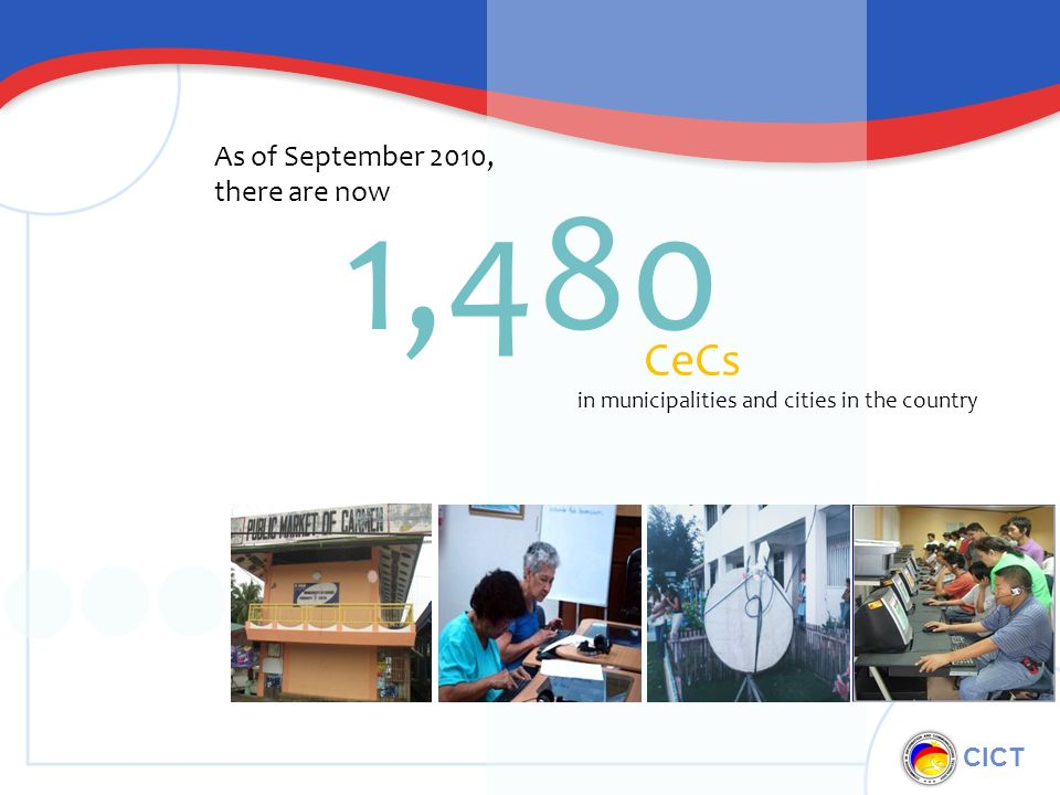 CICT 1,480 CeCs As of September 2010, there are now in municipalities and cities in the country