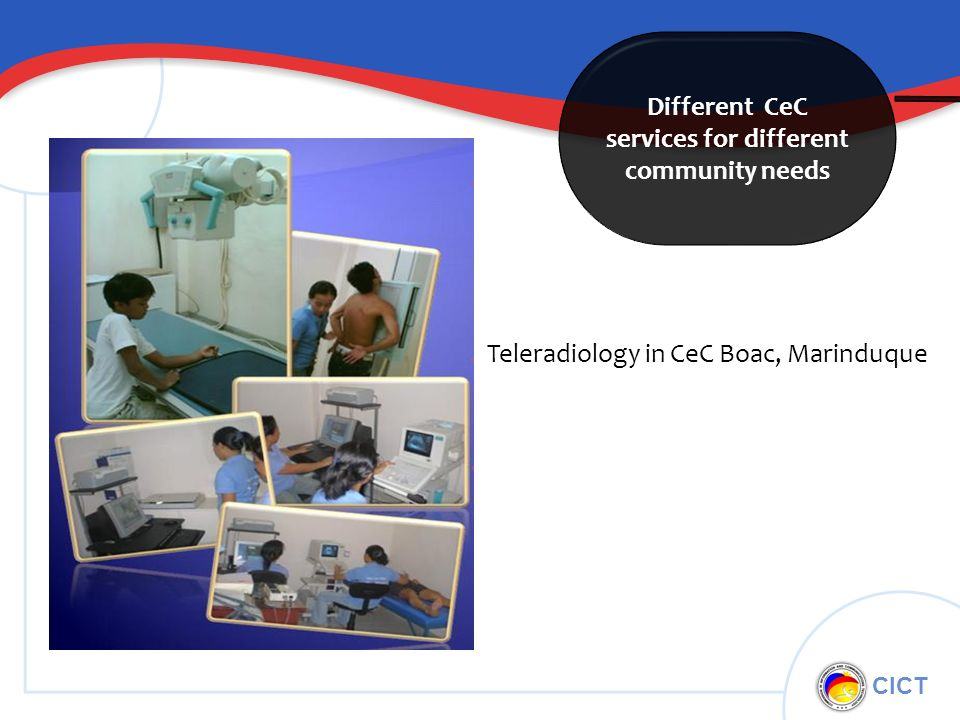 CICT Different CeC services for different community needs Teleradiology in CeC Boac, Marinduque