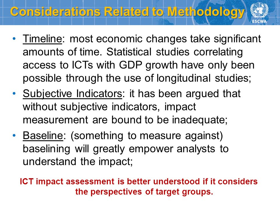 Timeline: most economic changes take significant amounts of time. Statistical studies correlating access to ICTs with GDP growth have only been possib