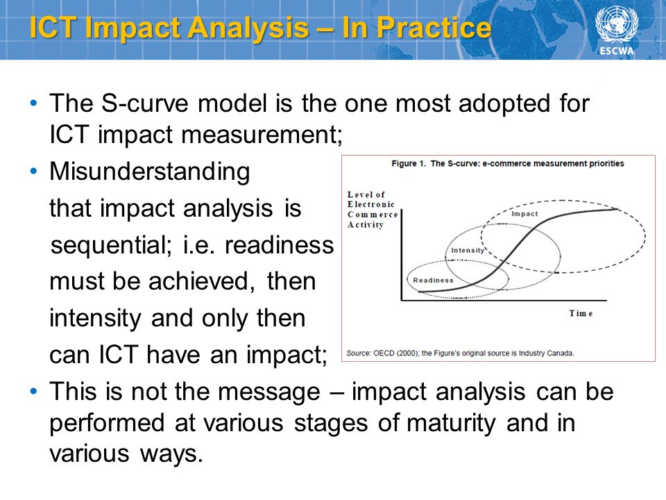 ICT Impact Analysis – In Practice The S-curve model is the one most adopted for ICT impact measurement; Misunderstanding that impact analysis is seque