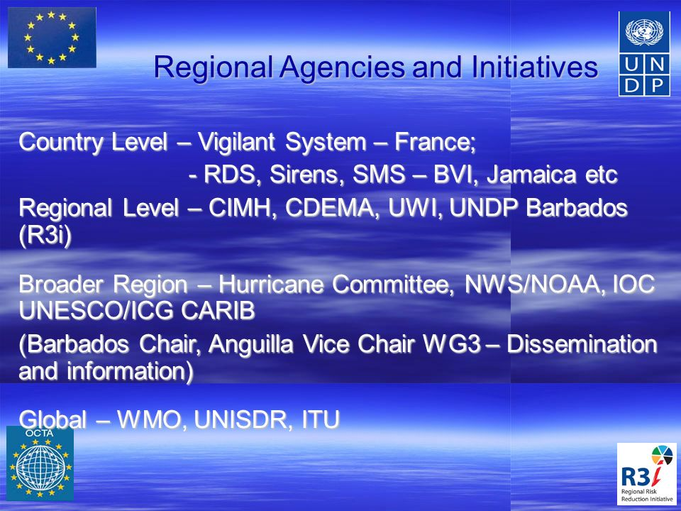R3I Sub Projects TMT1 – Hazard & Vulnerability Mapping & Modeling TMT1 – Hazard & Vulnerability Mapping & Modeling TMT2- Early Warning Systems Pilot TMT2- Early Warning Systems Pilot TMT3 – Response, Relief and Recovery TMT3 – Response, Relief and Recovery TMT4 – Emergency Operations Capacity Building TMT4 – Emergency Operations Capacity Building TMT5 – Best Practices & Lessons Learned TMT5 – Best Practices & Lessons Learned 14