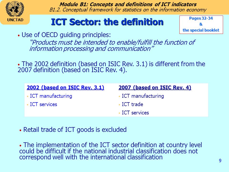 Module B1: Concepts and definitions of ICT indicators UNCTAD 9 ICT Sector: the definition B1.2.