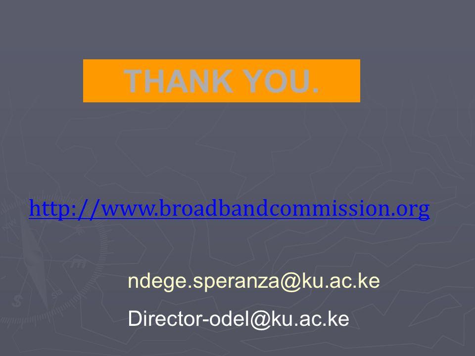 THANK YOU. ndege.speranza@ku.ac.ke Director-odel@ku.ac.ke http://www.broadbandcommission.org