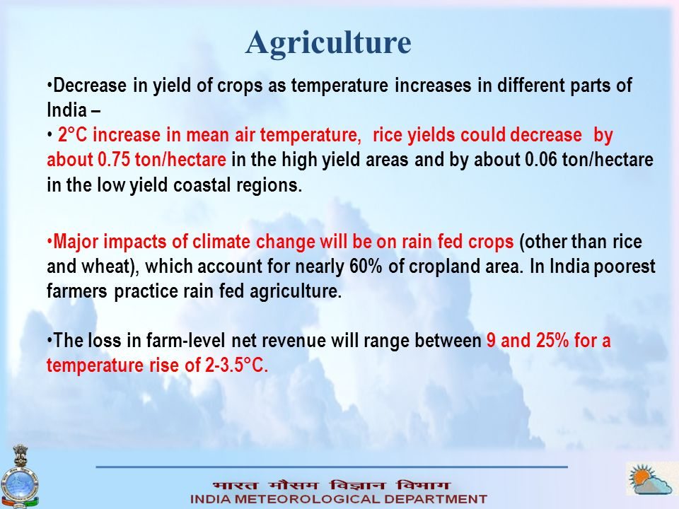 Decrease in yield of crops as temperature increases in different parts of India – 2°C increase in mean air temperature, rice yields could decrease by