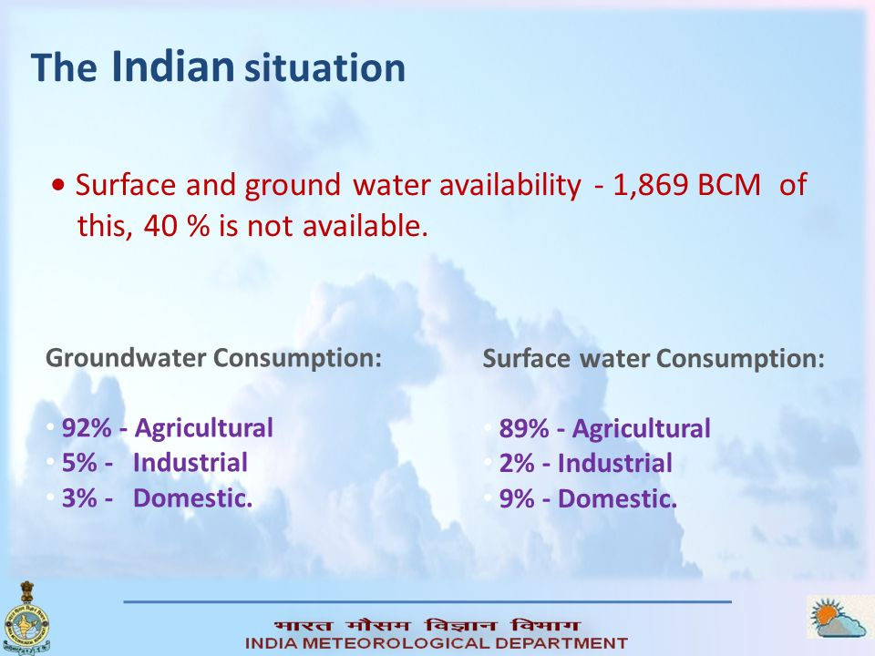 The Indian situation Surface and ground water availability - 1,869 BCM of this, 40 % is not available. Groundwater Consumption: 92% - Agricultural 5%
