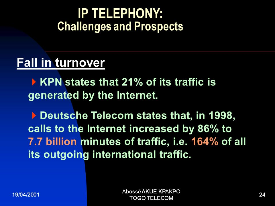 19/04/2001 Abossé AKUE-KPAKPO TOGO TELECOM 24 KPN states that 21% of its traffic is generated by the Internet.