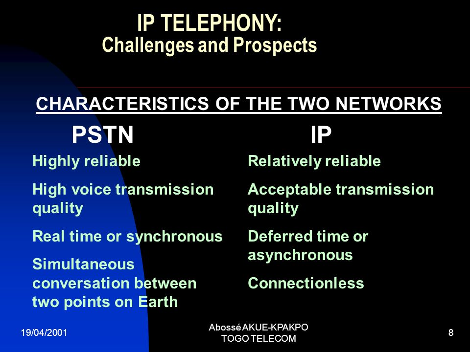19/04/2001 Abossé AKUE-KPAKPO TOGO TELECOM 8 CHARACTERISTICS OF THE TWO NETWORKS Highly reliable High voice transmission quality Real time or synchron