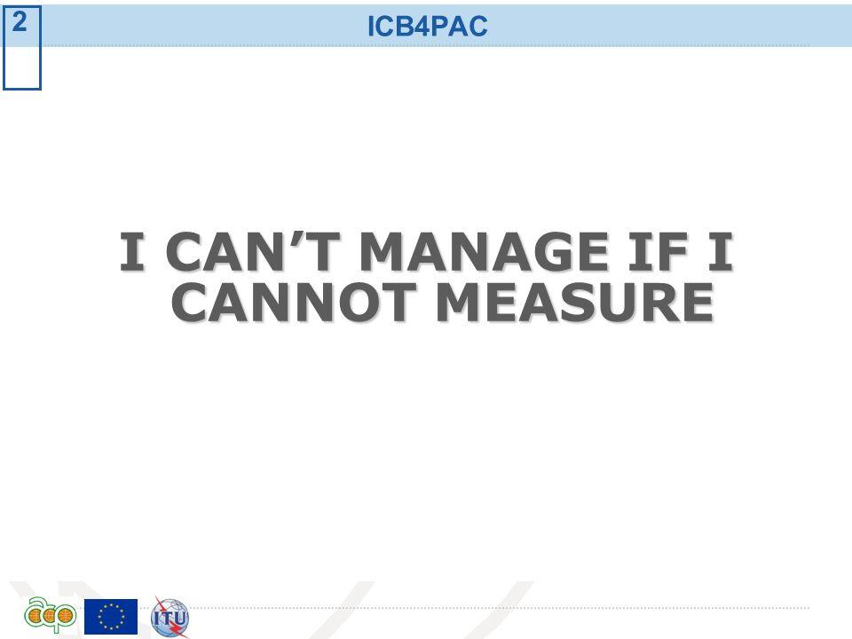 International Telecommunication Union ICB4PAC I CANT MANAGE IF I CANNOT MEASURE 2