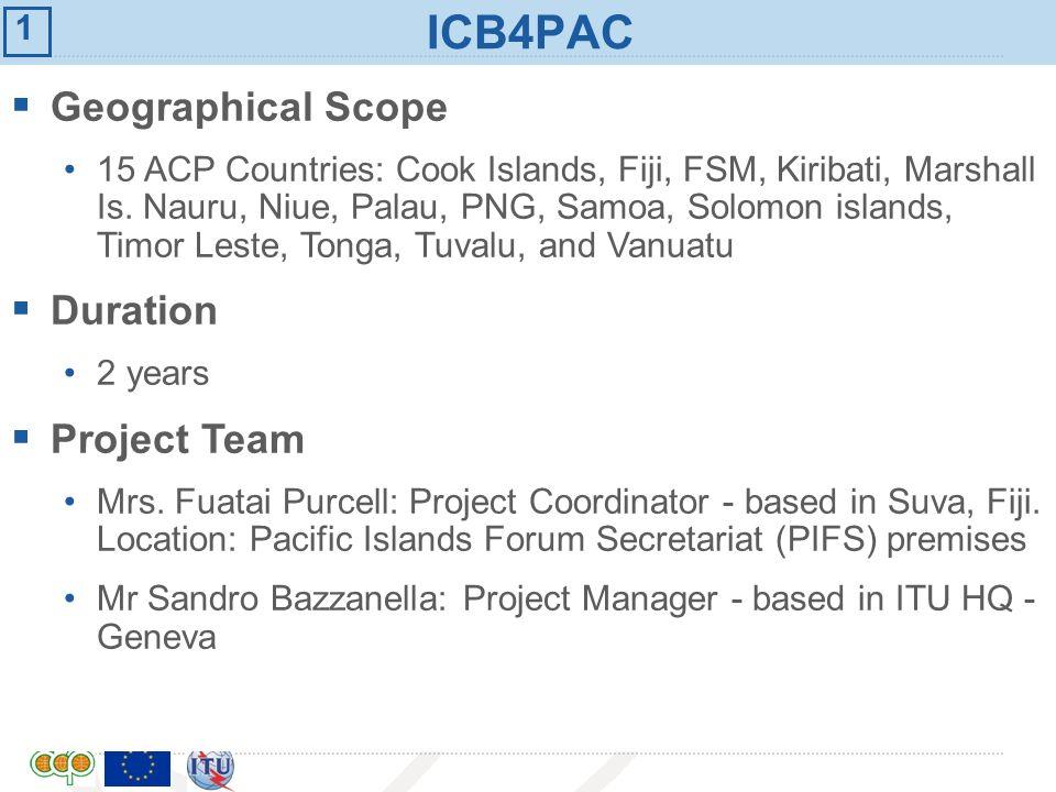 International Telecommunication Union ICB4PAC Geographical Scope 15 ACP Countries: Cook Islands, Fiji, FSM, Kiribati, Marshall Is. Nauru, Niue, Palau,