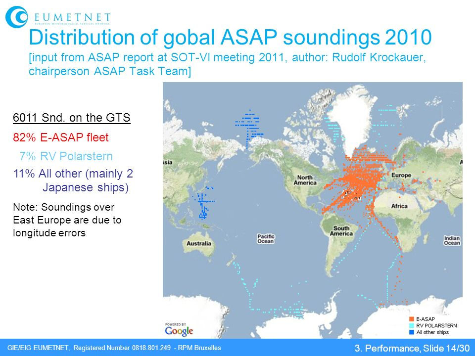 GIE/EIG EUMETNET, Registered Number 0818.801.249 - RPM Bruxelles Distribution of gobal ASAP soundings 2010 [input from ASAP report at SOT-VI meeting 2