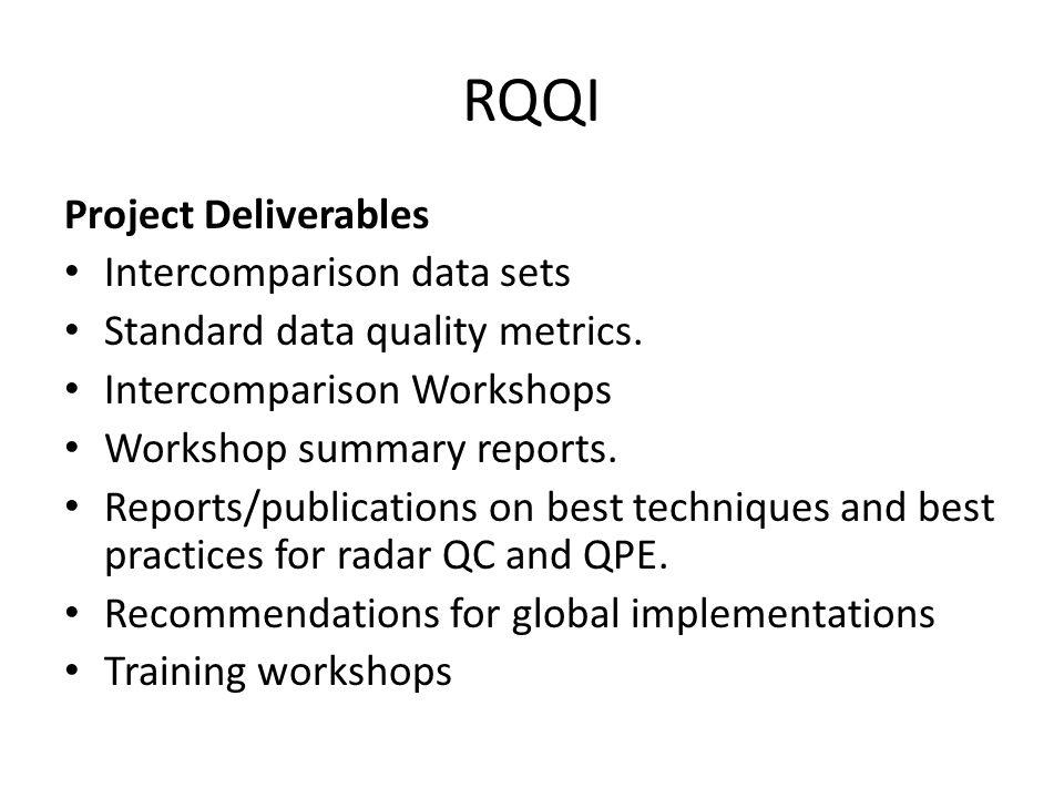 RQQI Project Deliverables Intercomparison data sets Standard data quality metrics. Intercomparison Workshops Workshop summary reports. Reports/publica