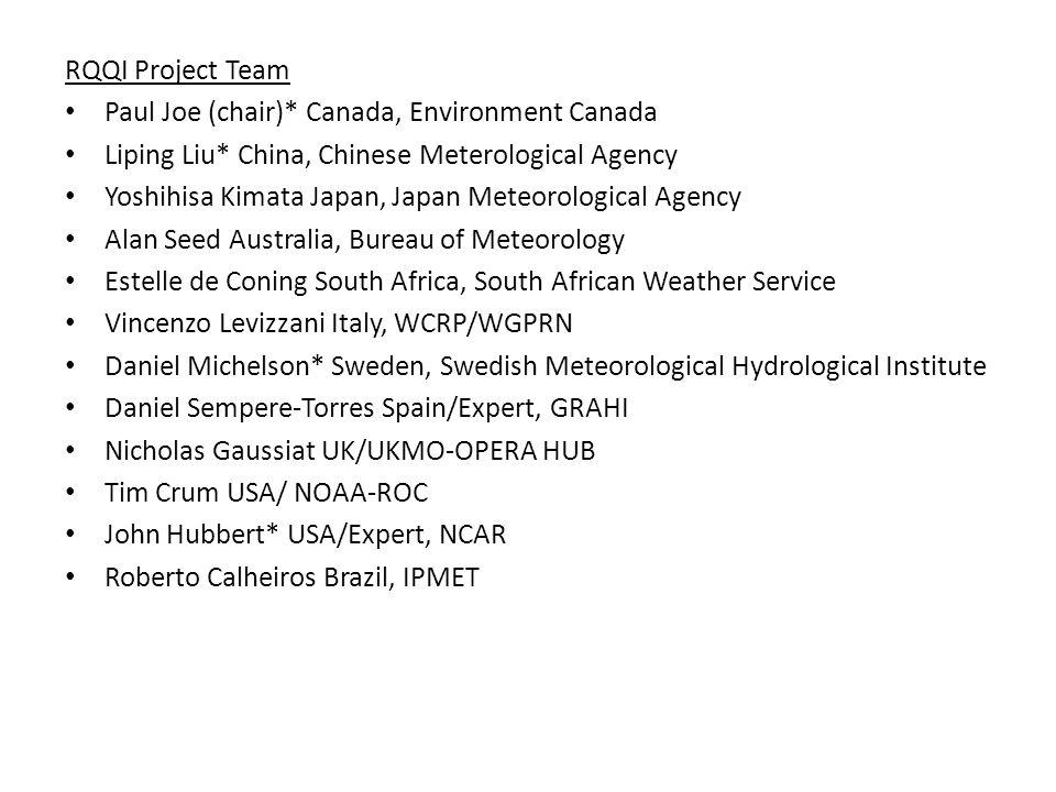 RQQI Project Team Paul Joe (chair)* Canada, Environment Canada Liping Liu* China, Chinese Meterological Agency Yoshihisa Kimata Japan, Japan Meteorolo