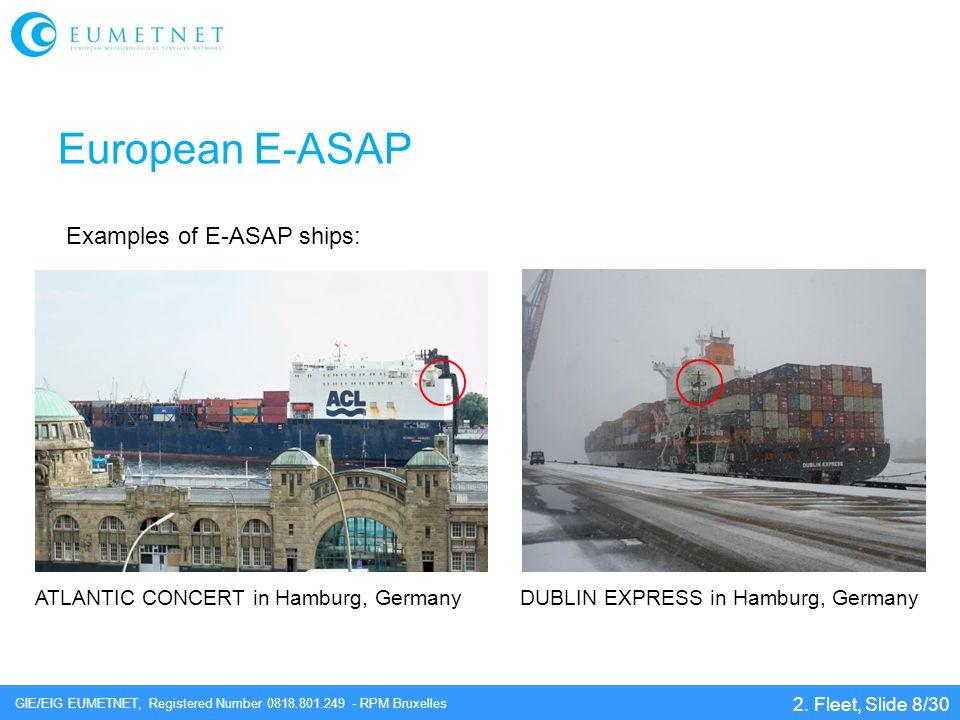 GIE/EIG EUMETNET, Registered Number 0818.801.249 - RPM Bruxelles European E-ASAP 2. Fleet, Slide 8/30 Examples of E-ASAP ships: ATLANTIC CONCERT in Ha