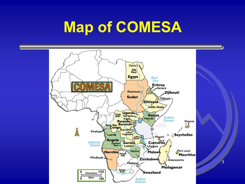2 COMESA Membership Member States of COMESA are: Angola Burundi Comoros Congo, DR Djibouti Egypt Eritrea Ethiopia Kenya Madagascar Malawi Mauritius Na