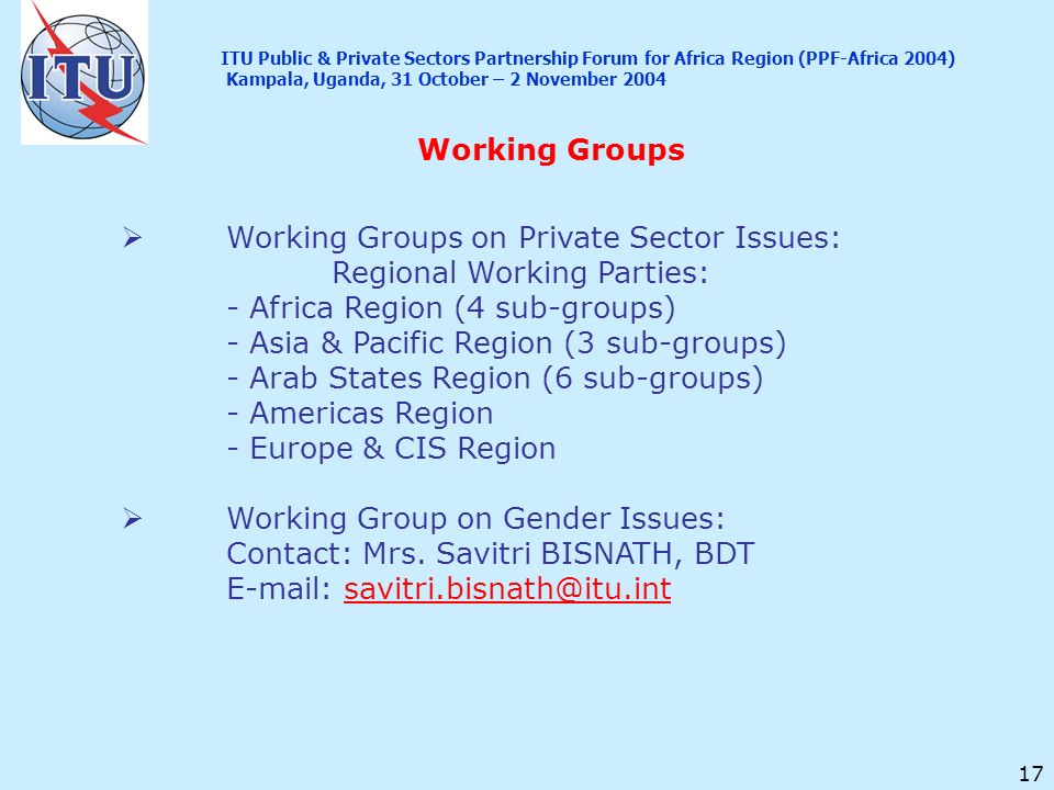17 Working Groups Working Groups on Private Sector Issues: Regional Working Parties: - Africa Region (4 sub-groups) - Asia & Pacific Region (3 sub-gro