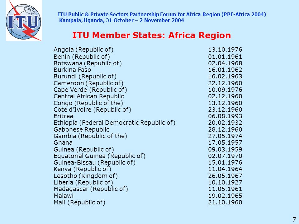 7 Angola (Republic of)13.10.1976 Benin (Republic of)01.01.1961 Botswana (Republic of)02.04.1968 Burkina Faso16.01.1962 Burundi (Republic of)16.02.1963