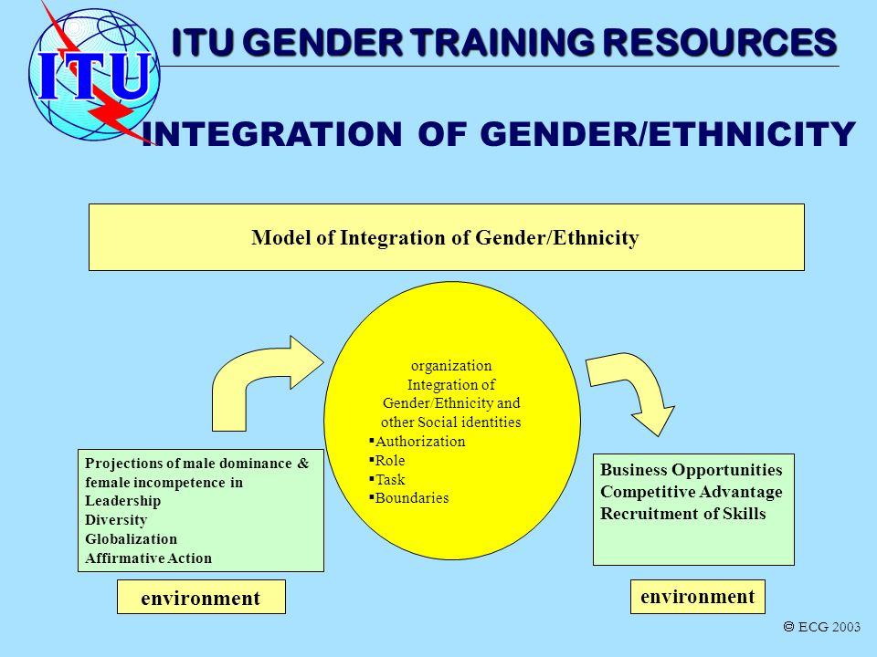INTEGRATION OF GENDER/ETHNICITY ITU GENDER TRAINING RESOURCES organization Integration of Gender/Ethnicity and other Social identities Authorization R