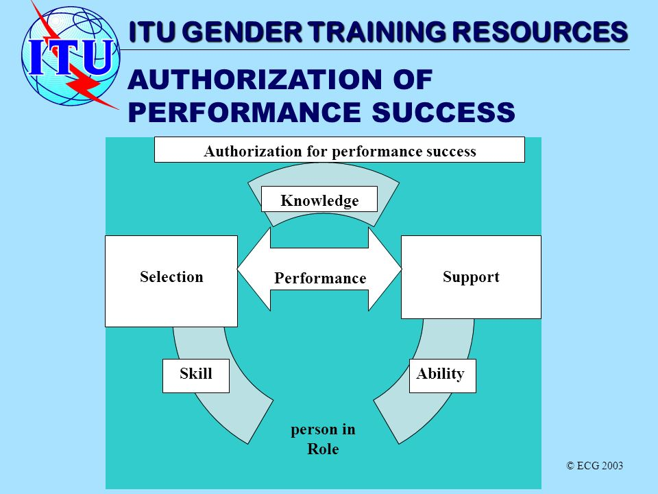 AUTHORIZATION OF PERFORMANCE SUCCESS ITU GENDER TRAINING RESOURCES SelectionSupport Performance Skill Knowledge Ability Authorization for performance