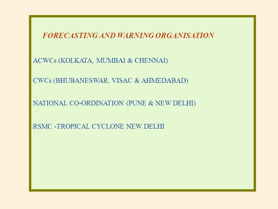 FORECASTING AND WARNING ORGANISATION ACWCs (KOLKATA, MUMBAI & CHENNAI) CWCs (BHUBANESWAR, VISAC & AHMEDABAD) NATIONAL CO-ORDINATION (PUNE & NEW DELHI) RSMC -TROPICAL CYCLONE NEW DELHI