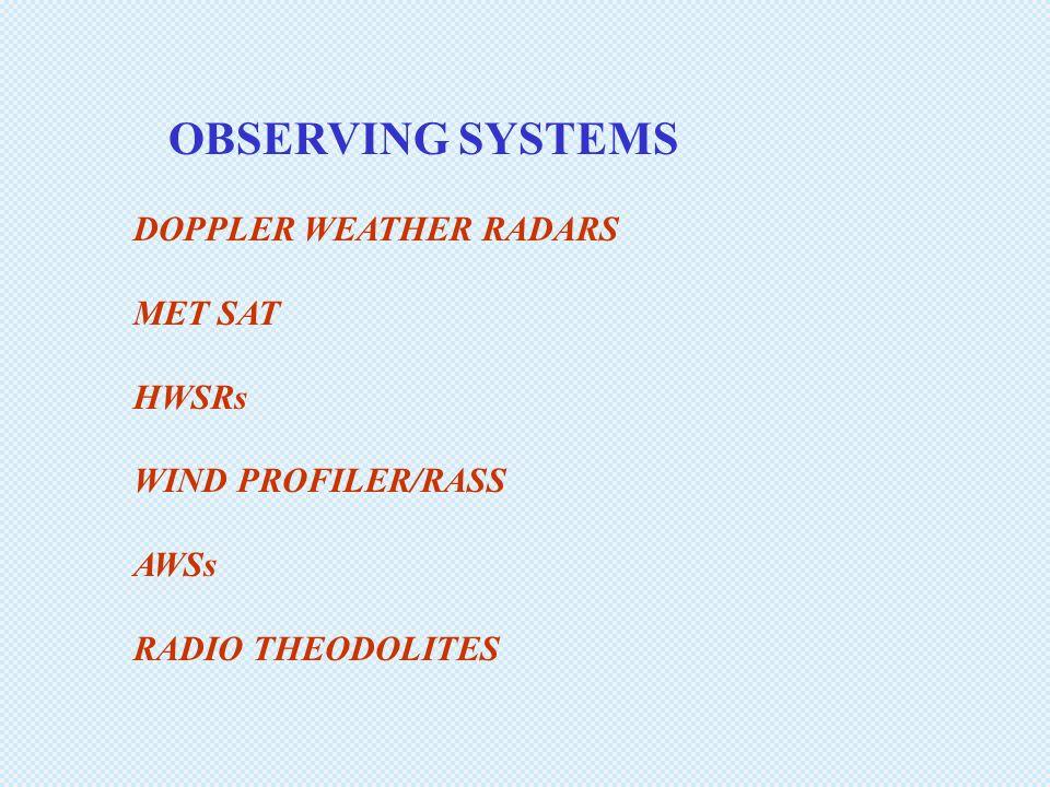 OBSERVING SYSTEMS DOPPLER WEATHER RADARS MET SAT HWSRs WIND PROFILER/RASS AWSs RADIO THEODOLITES