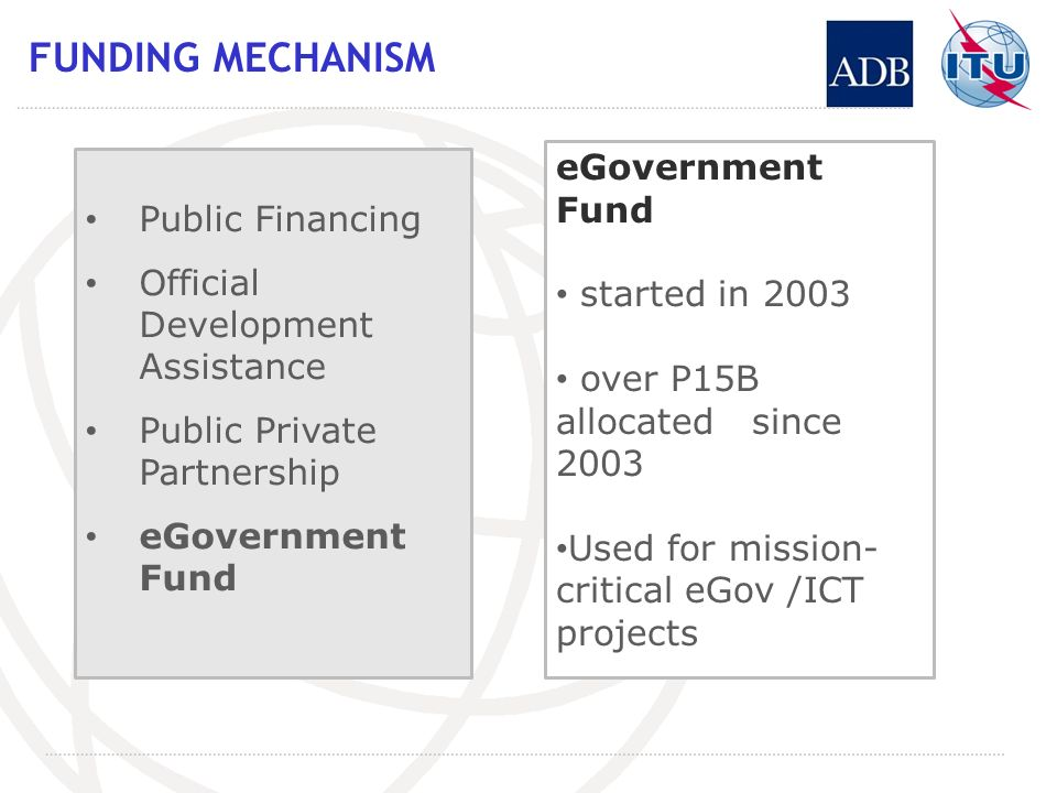 FUNDING MECHANISM Public Financing Official Development Assistance Public Private Partnership eGovernment Fund started in 2003 over P15B allocated since 2003 Used for mission- critical eGov /ICT projects