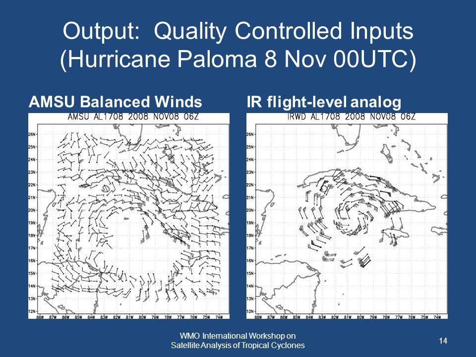 Output: Quality Controlled Inputs (Hurricane Paloma 8 Nov 00UTC) AMSU Balanced WindsIR flight-level analog 14 WMO International Workshop on Satellite Analysis of Tropical Cyclones
