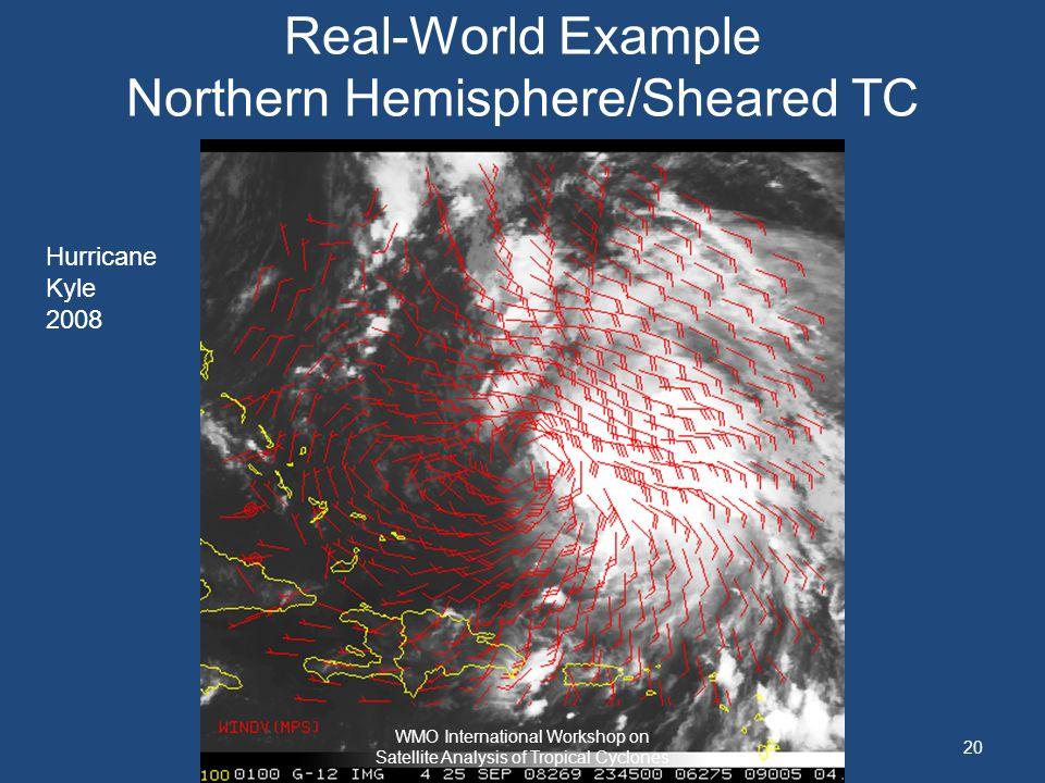 Real-World Example Northern Hemisphere/Sheared TC Hurricane Kyle 2008 20 WMO International Workshop on Satellite Analysis of Tropical Cyclones
