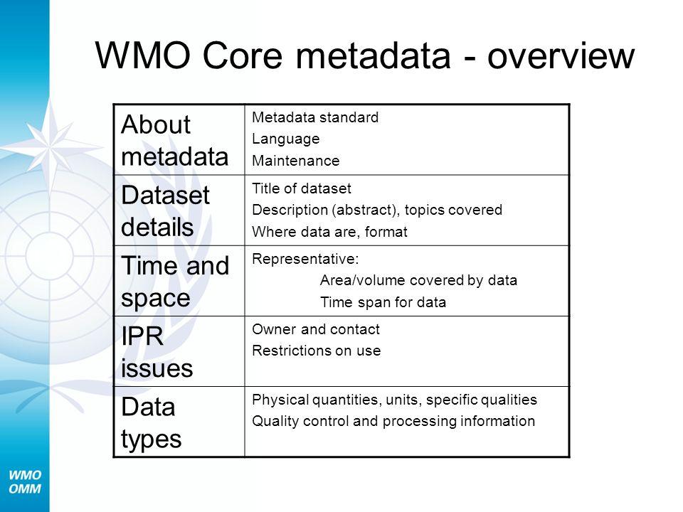 WMO Core metadata - overview About metadata Metadata standard Language Maintenance Dataset details Title of dataset Description (abstract), topics cov