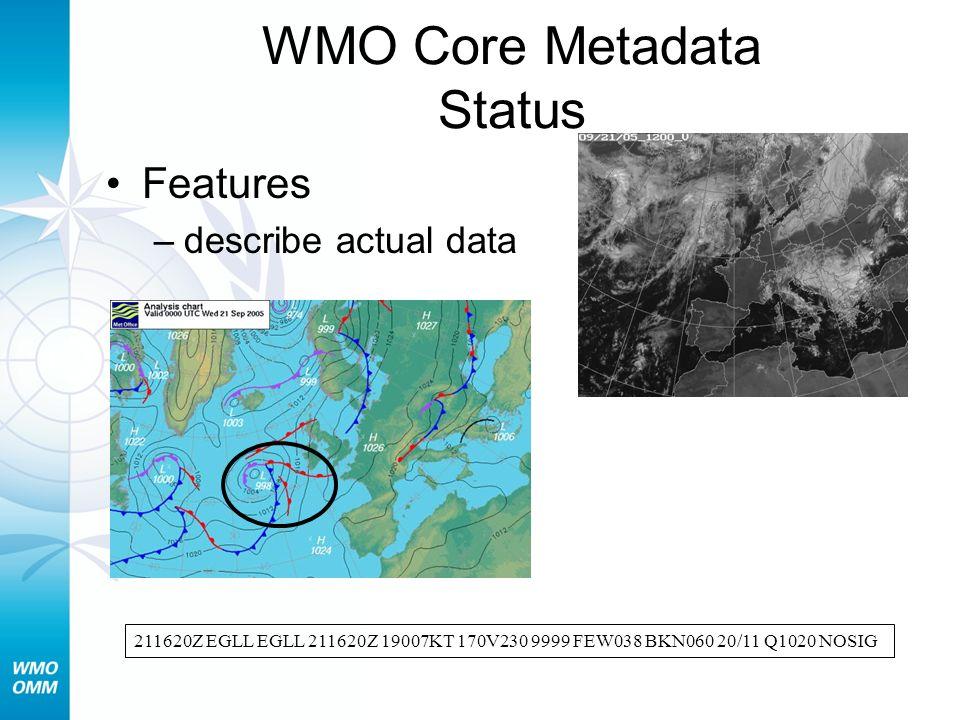 WMO Core Metadata Status Features –describe actual data 211620Z EGLL EGLL 211620Z 19007KT 170V230 9999 FEW038 BKN060 20/11 Q1020 NOSIG