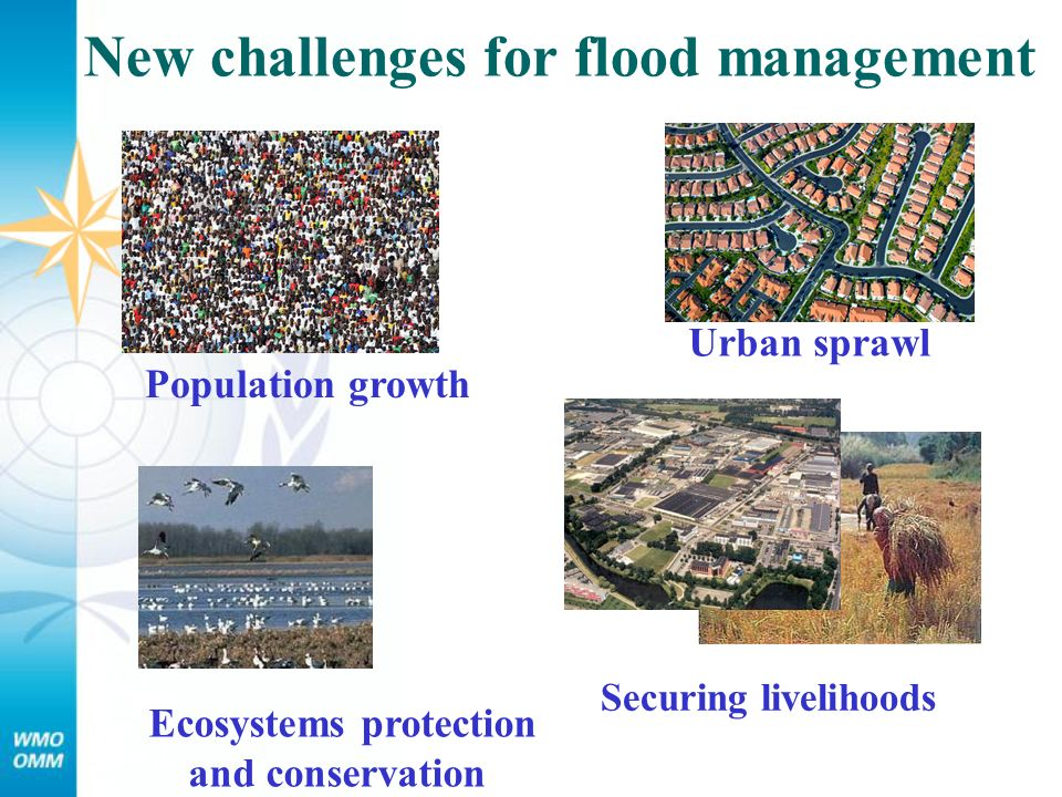New challenges for flood management Securing livelihoods Ecosystems protection and conservation Population growth Urban sprawl