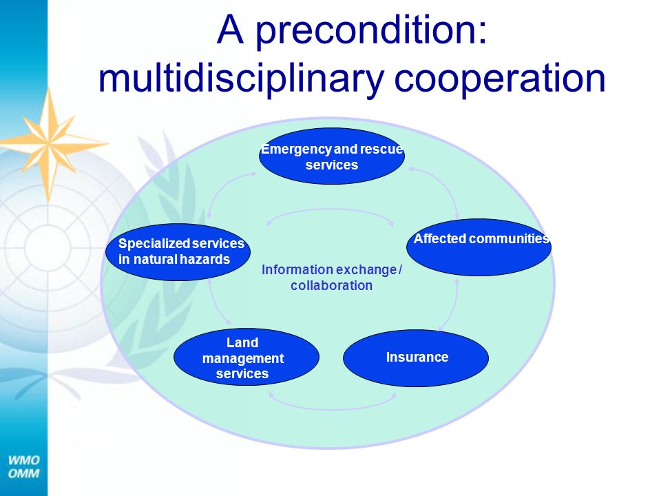 A precondition: multidisciplinary cooperation Affected communities Information exchange / collaboration Insurance Specialized services in natural hazards Land management services Emergency and rescue services