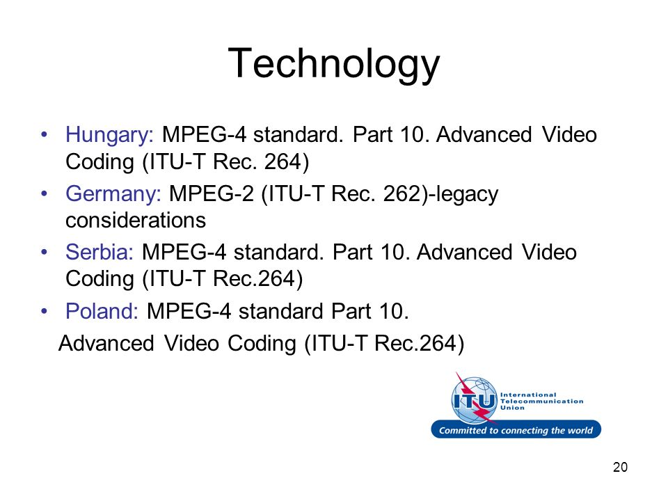 20 Technology Hungary: MPEG-4 standard. Part 10. Advanced Video Coding (ITU-T Rec. 264) Germany: MPEG-2 (ITU-T Rec. 262)-legacy considerations Serbia: