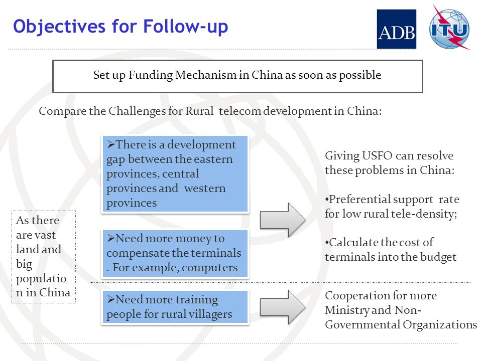 Objectives for Follow-up Set up Funding Mechanism in China as soon as possible Compare the Challenges for Rural telecom development in China: There is a development gap between the eastern provinces, central provinces and western provinces Need more money to compensate the terminals.