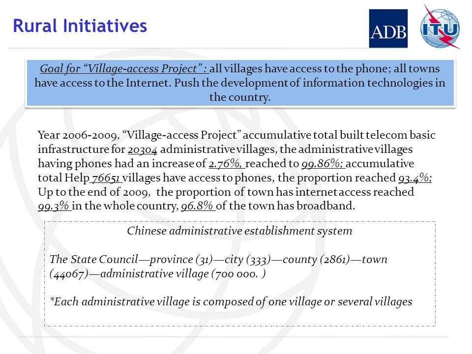 Rural Initiatives Year 2006-2009, Village-access Project accumulative total built telecom basic infrastructure for 20304 administrative villages, the administrative villages having phones had an increase of 2.76%, reached to 99.86%; accumulative total Help 76651 villages have access to phones, the proportion reached 93.4%; Up to the end of 2009, the proportion of town has internet access reached 99.3% in the whole country, 96.8% of the town has broadband.