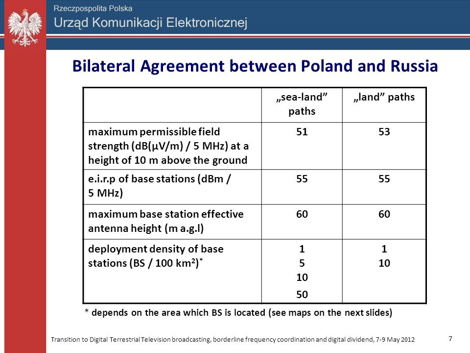 Transition to Digital Terrestrial Television broadcasting, borderline frequency coordination and digital dividend, 7-9 May 2012 18 POL-UKR Agreement All base stations require coordination 0 – 15 km