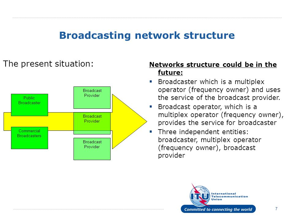 7 Broadcasting network structure The present situation: Networks structure could be in the future: Broadcaster which is a multiplex operator (frequenc