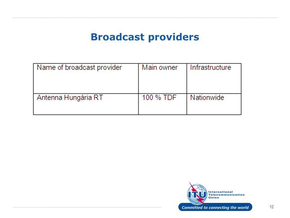 12 Broadcast providers