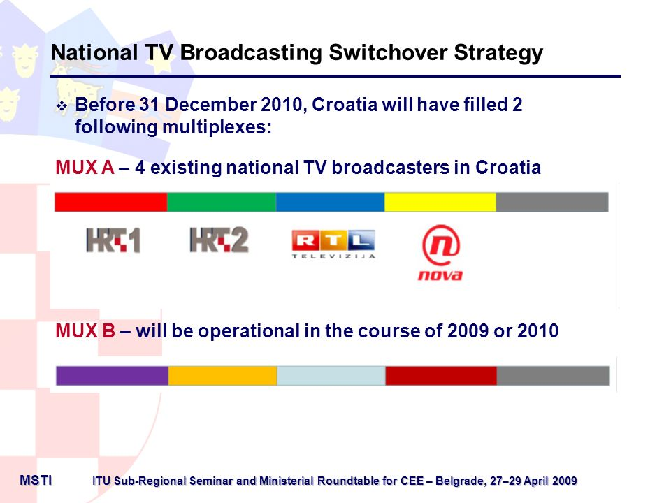 ITU Sub-Regional Seminar and Ministerial Roundtable for CEE– Belgrade, 27–29 April 2009 ITU Sub-Regional Seminar and Ministerial Roundtable for CEE – Belgrade, 27–29 April 2009 MSTI MSTI National TV Broadcasting Switchover Strategy Time schedule Time schedule for digital television switchover across 9 digital regions in Croatia