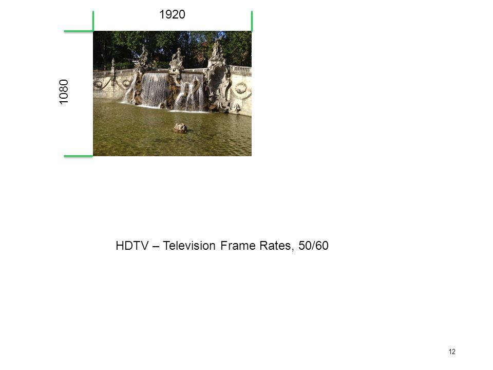 12 1920 1080 HDTV – Television Frame Rates, 50/60