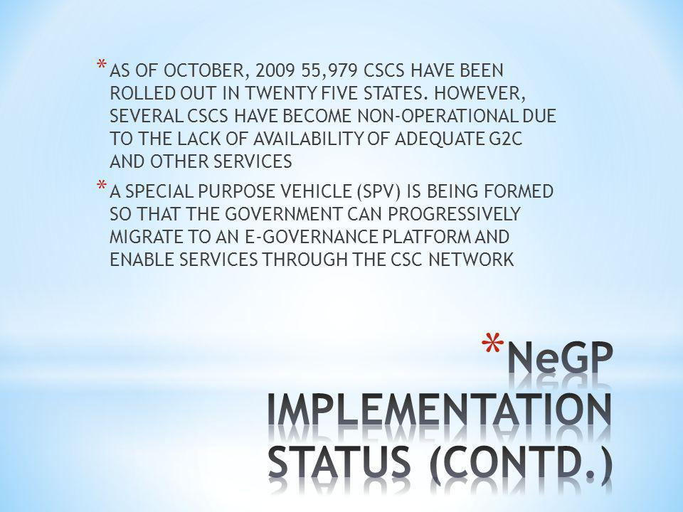 * AS OF OCTOBER, 2009 55,979 CSCS HAVE BEEN ROLLED OUT IN TWENTY FIVE STATES.