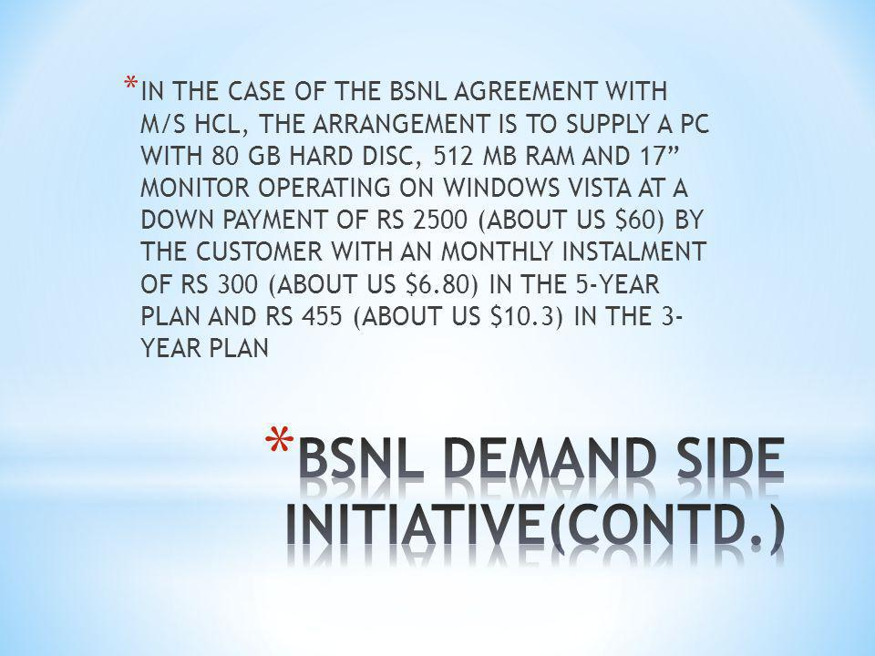 * IN THE CASE OF THE BSNL AGREEMENT WITH M/S HCL, THE ARRANGEMENT IS TO SUPPLY A PC WITH 80 GB HARD DISC, 512 MB RAM AND 17 MONITOR OPERATING ON WINDOWS VISTA AT A DOWN PAYMENT OF RS 2500 (ABOUT US $60) BY THE CUSTOMER WITH AN MONTHLY INSTALMENT OF RS 300 (ABOUT US $6.80) IN THE 5-YEAR PLAN AND RS 455 (ABOUT US $10.3) IN THE 3- YEAR PLAN