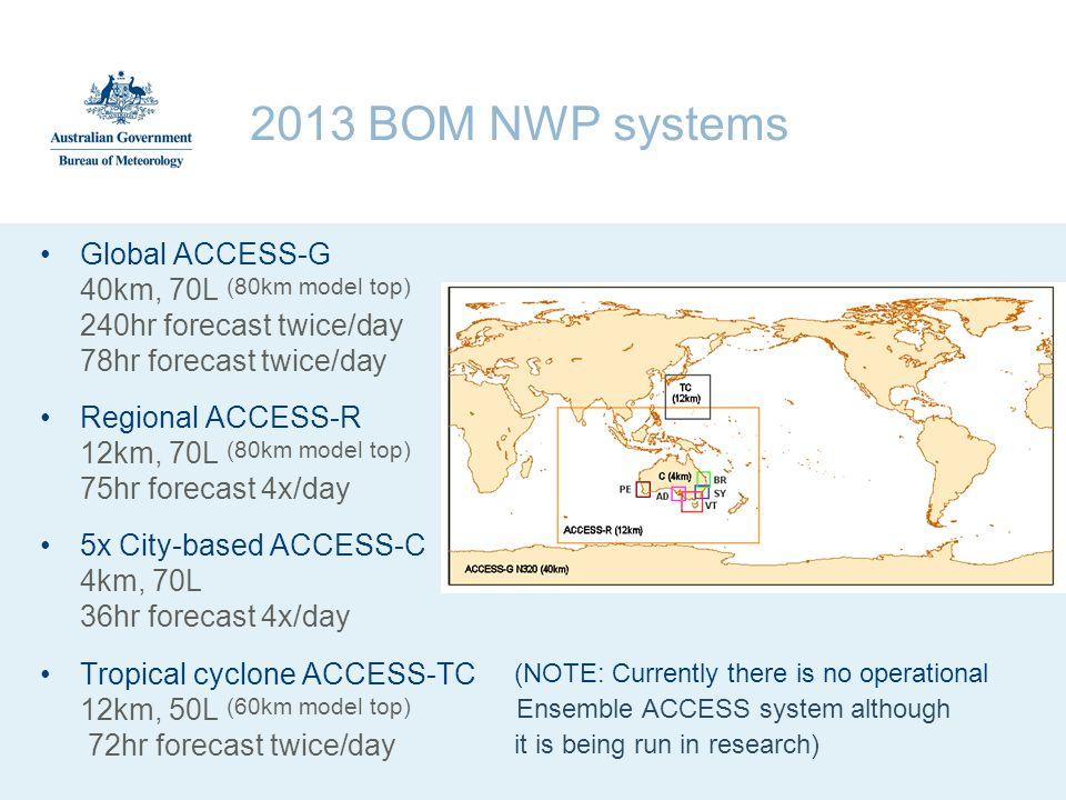 2013 BOM NWP systems Global ACCESS-G 40km, 70L (80km model top) 240hr forecast twice/day 78hr forecast twice/day Regional ACCESS-R 12km, 70L (80km mod