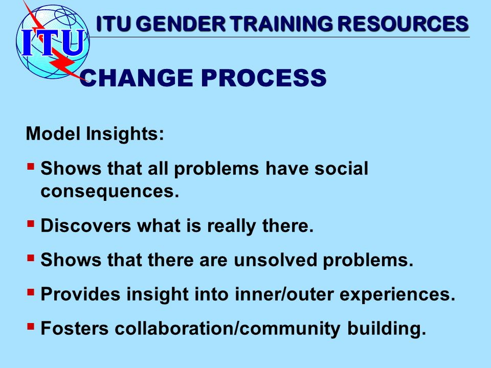 Model Insights: Shows that all problems have social consequences. Discovers what is really there. Shows that there are unsolved problems. Provides ins