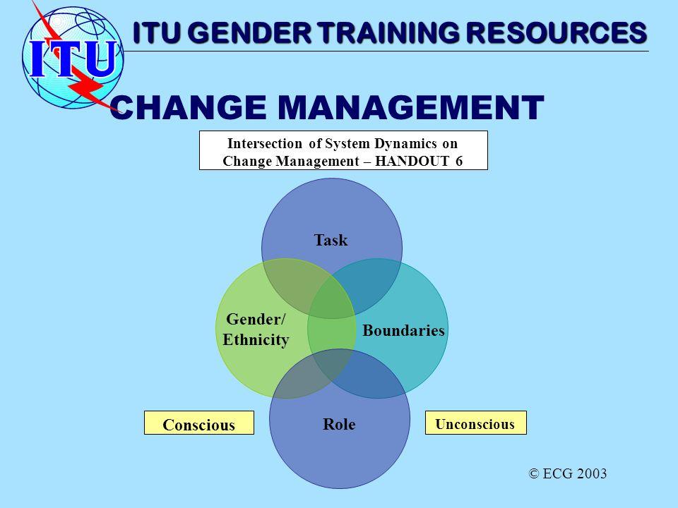 CHANGE MANAGEMENT Gender/ Ethnicity Boundaries Role Task Intersection of System Dynamics on Change Management – HANDOUT 6 Conscious Unconscious ITU GE