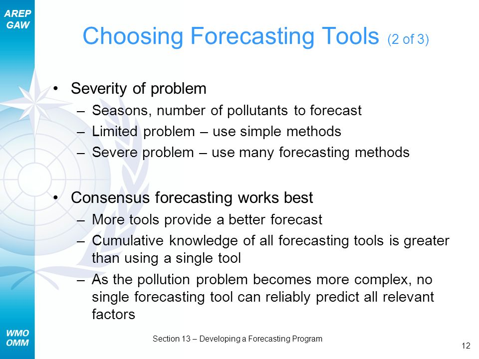 AREP GAW Section 13 – Developing a Forecasting Program 12 Choosing Forecasting Tools (2 of 3) Severity of problem –Seasons, number of pollutants to forecast –Limited problem – use simple methods –Severe problem – use many forecasting methods Consensus forecasting works best –More tools provide a better forecast –Cumulative knowledge of all forecasting tools is greater than using a single tool –As the pollution problem becomes more complex, no single forecasting tool can reliably predict all relevant factors