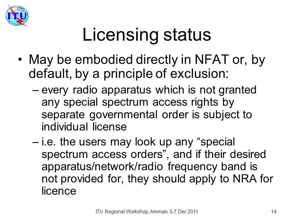 ITU Regional Workshop, Amman, 5-7 Dec 201114 Licensing status May be embodied directly in NFAT or, by default, by a principle of exclusion: –every radio apparatus which is not granted any special spectrum access rights by separate governmental order is subject to individual license –i.e.