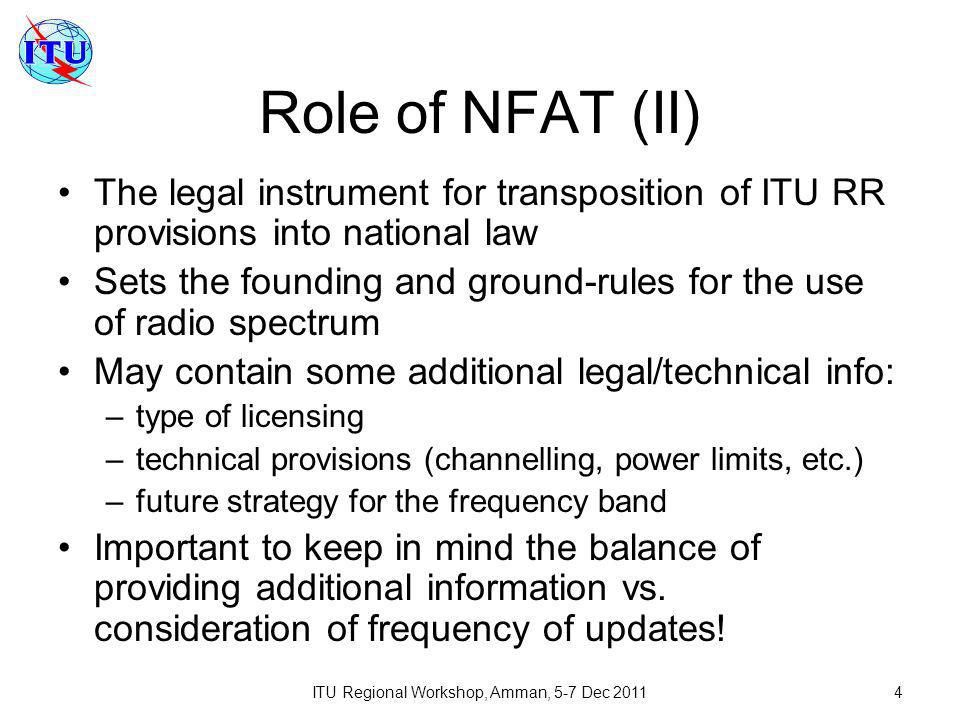 ITU Regional Workshop, Amman, 5-7 Dec 20115 Principles of NFAT Consistency with ITU RR provisions for respective region: –NFAT may specify not all services allowed by RR for given region/frequency band.