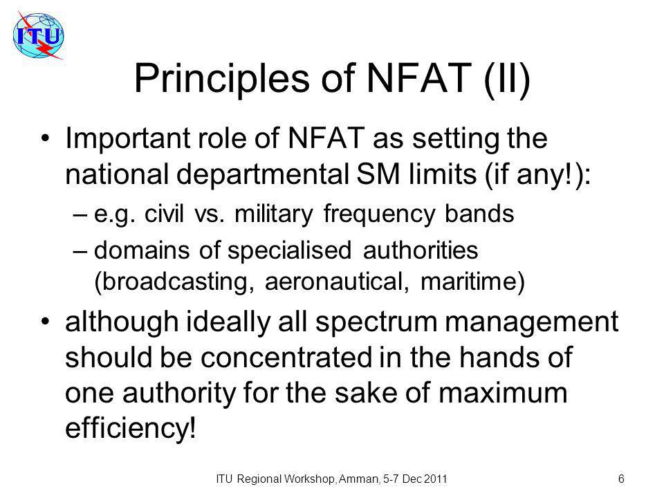 ITU Regional Workshop, Amman, 5-7 Dec 20117 Structure of NFAT Terms and definitions NFAT (sometimes different tables for different parts of spectrum) Applicable international footnotes National footnotes